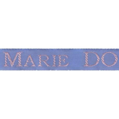 Etiquettes tissées Modèle S - Ruban Bleu 12 mm - Lettrage Rose