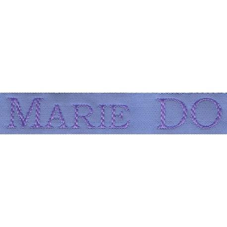 Etiquettes tissées Modèle S - Ruban Bleu 12 mm - Lettrage Parme