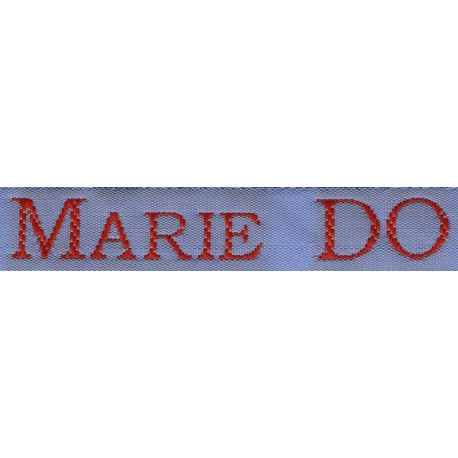 Woven labels, Model S - Blue 12mm ribbon - Red lettering
