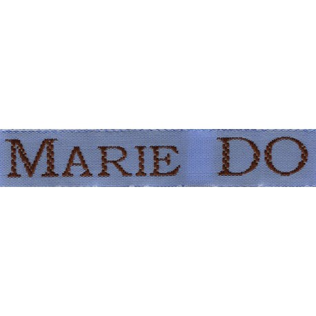 Woven labels, Model S - Blue 12mm ribbon - Brown lettering