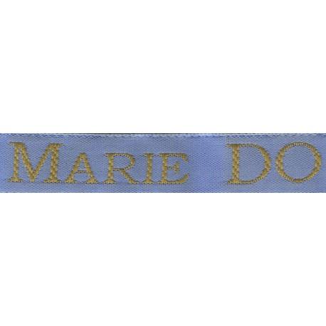 Etiquettes tissées Modèle S - Ruban Bleu 12 mm - Lettrage Vieil Or