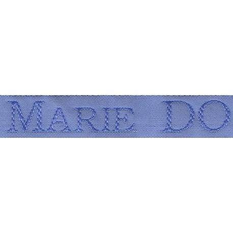 Etiquettes tissées Modèle S - Ruban Bleu 12 mm - Lettrage Ciel