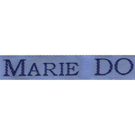 Etiquettes tissées Modèle S - Ruban Bleu 12 mm - Lettrage Marine
