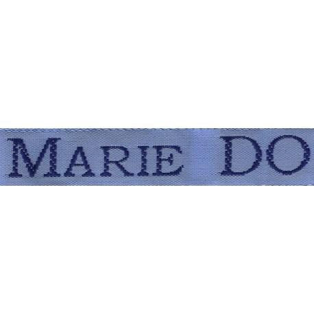 Woven labels, Model S - Blue 12mm ribbon - Navy lettering
