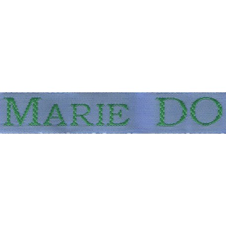 Woven labels, Model S - Blue 12mm ribbon - Green lettering