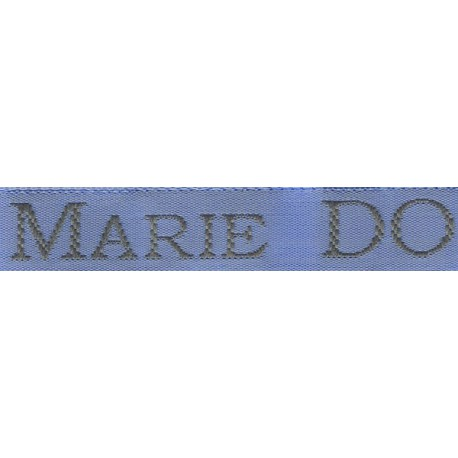 Woven labels, Model S - Blue 12mm ribbon - Grey lettering