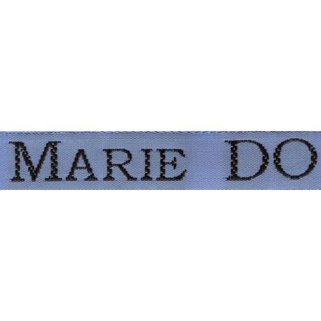 Woven labels, Model S - Blue 12mm ribbon - Black lettering