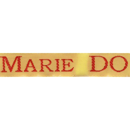 Woven labels, Model S - Yellow 12mm ribbon - Red lettering