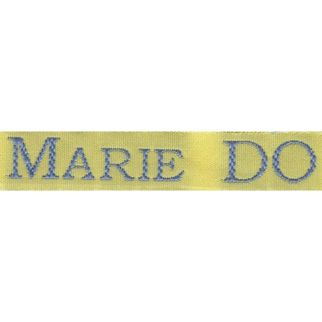 Woven labels, Model S - Yellow 12mm ribbon - Sky-blue lettering