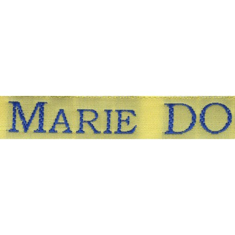 Woven labels, Model S - Yellow 12mm ribbon - Royal blue lettering