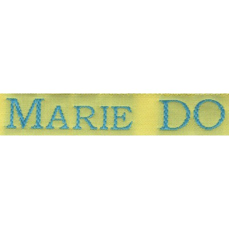 Woven labels, Model S - Yellow 12mm ribbon - Turquoise lettering