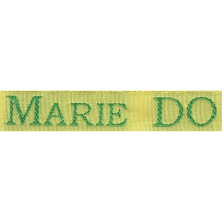 Woven labels, Model S - Yellow 12mm ribbon - Green lettering