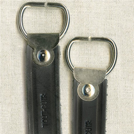 Black, flat, short bag handles
