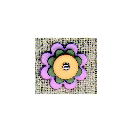 Layered Violet/Grey/Melon flower children's button.