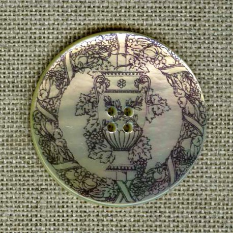 Printed mother-of-pearl button Bacchus
