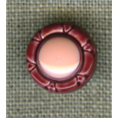 Wine/Rosewood flower children's button.