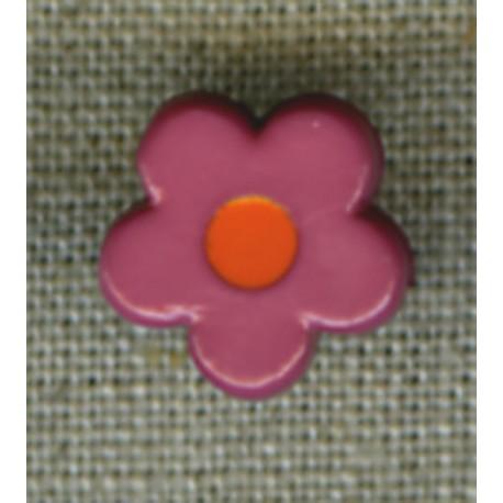 Pop Raspberry/Orange flower children's button.