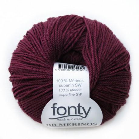 FONTY wool knitting yarn, qual.BB MERINOS, col. Dark red  860