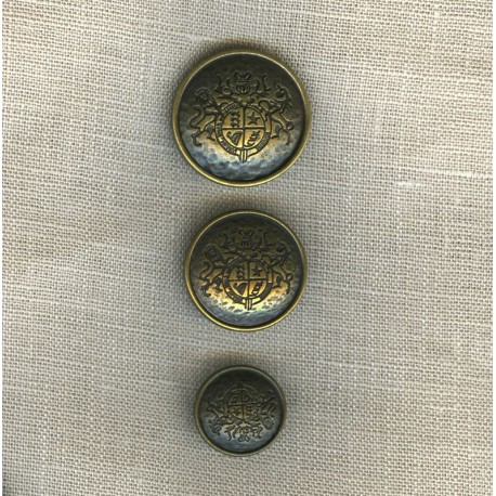 Heraldry motif Metal Button, col. Old Gold