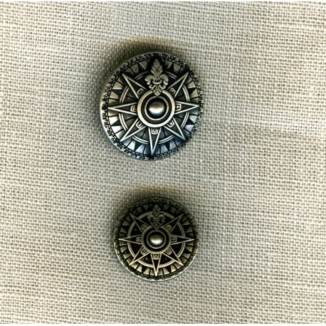 Wind Rose Metal Button, col. Old Silver