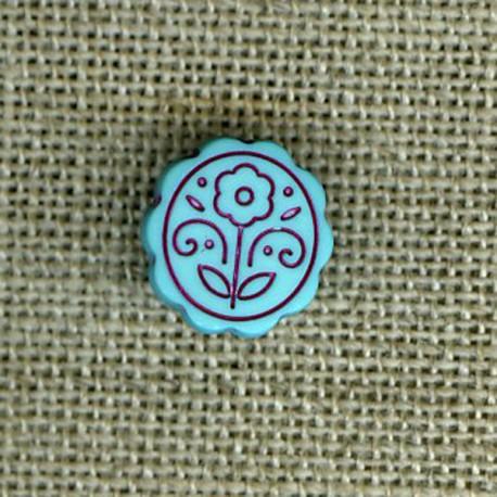 Bouton enfant fleur gravée, Turquoise