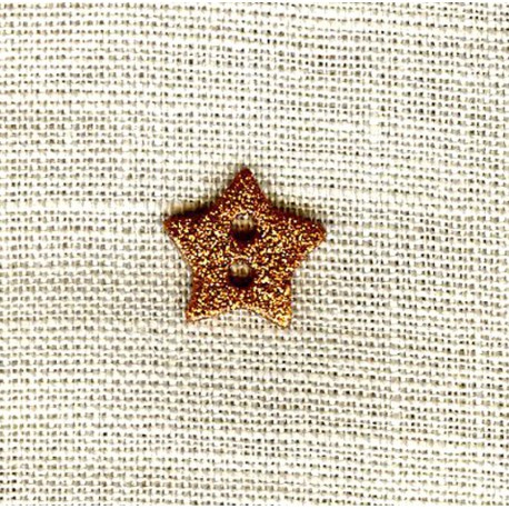 Enamelled Shining Star mother of pearl button, col. Copper