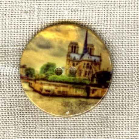 Bouton Nacre Imprimée, Paris Notre Dame