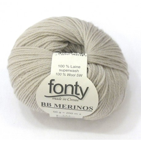 FONTY wool knitting yarn, qual.BB MERINOS, col. Raw 840