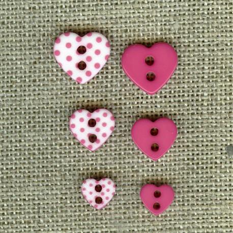 Heart engraved dots children button, col. Malabar