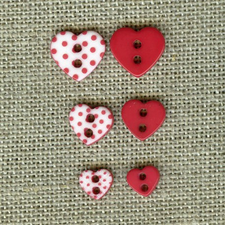 Heart engraved dots children button, col. Poppy