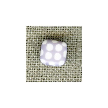 Bouton enfant carré gravé pois blancs, col. Guimauve
