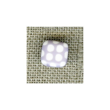 Square children button white dots engraved, col. Marshmallow