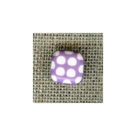 Square children button white dots engraved, col. Lavender