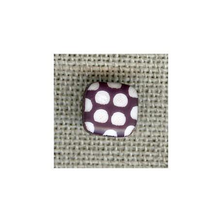 Square children button white dots engraved, col. Eggplant
