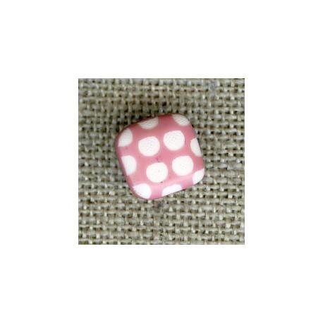 Bouton enfant carré gravé pois blancs, col. Bois de rose