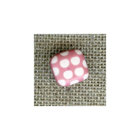 Square children button white dots engraved, col. Rosewood