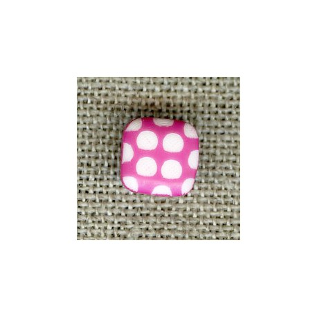 Square children button white dots engraved, col. Malabar