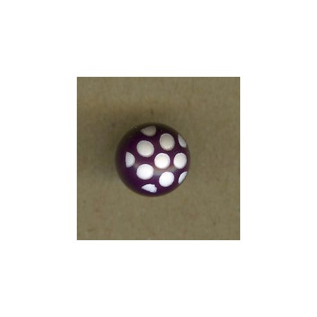 Ball children button white dots engraved, col. Eggplant