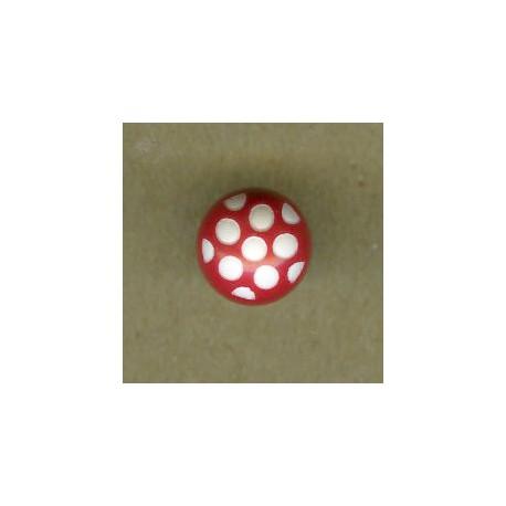 Ball children button white dots engraved, col. Poppy