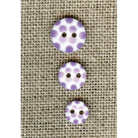 White children button Lavender dots engraved