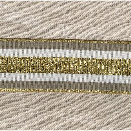 Striped grosgrain ribbon,col. Mole/ Raw/ Gold