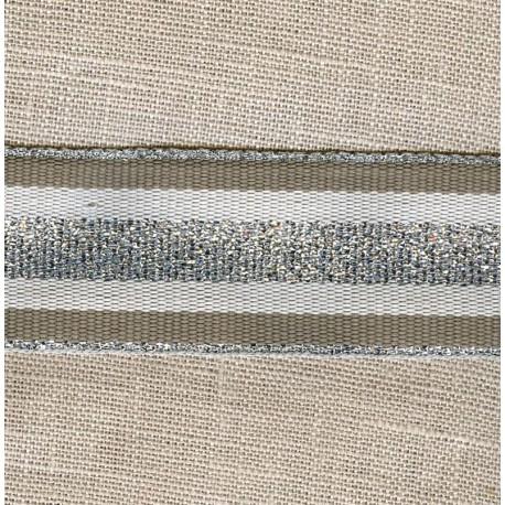 Striped grosgrain ribbon,col. Mole/ Raw/ Silver