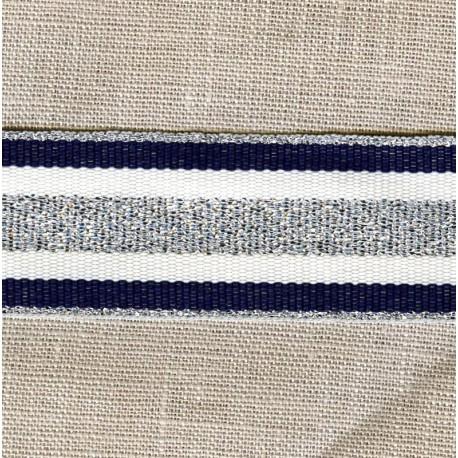Striped grosgrain ribbon,col. Amiral/ Snow/ Silver