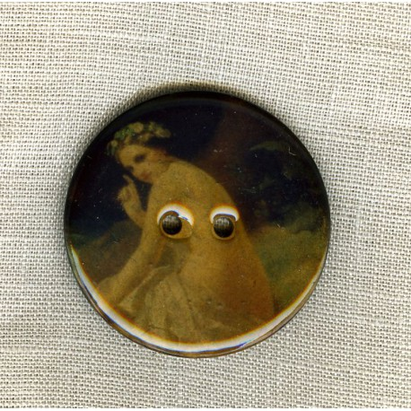 Bouton en noix de coco émaillée, La Muse
