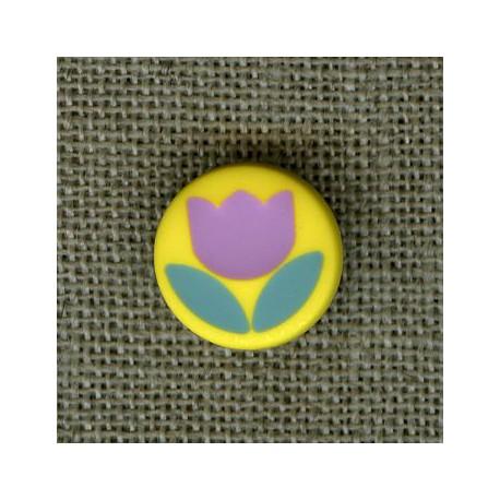 Bouton enfant Tulipe sur pied, col. Citron/Amande/Lilas