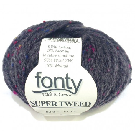 FONTY wool knitting yarn, qual. Super Tweed, col. Carbone 05