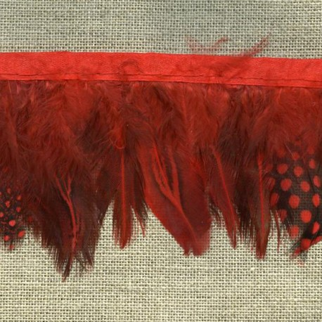 Strip of feathers Speckled on satin ribbon, col. Red 08