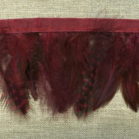 Strip of feathers Speckled on satin ribbon, col.  Bordeaux 72