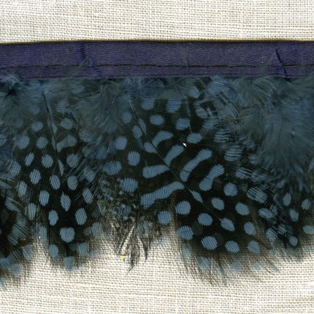 Strip of feathers Speckled on satin Ribbon, col. Northern Sea 23