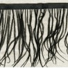 Strip of Ostrich feathers on satin Ribbon, col. Licorice 14